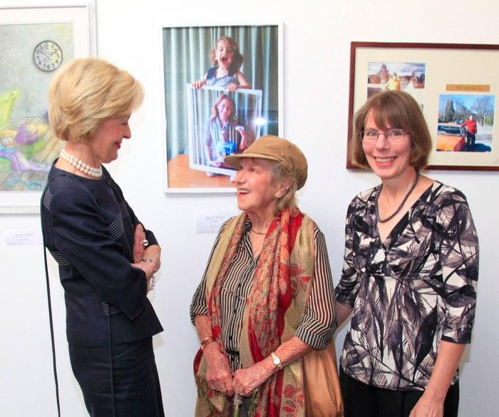 Governor-General Ms Quentin Bryce AC CVO, Rena McCawley, Margaret Kalms visit TIME art exhibition crop